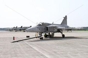 Schoenefeld  Deutschland  Jagdflugzeug Saab JAS 39 Gripen der Schwedischen Luftwaffe