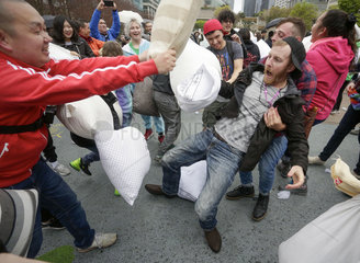CANADA-VANCOUVER-PILLOW FIGHT FLASH MOB