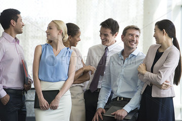 Business team having lighthearted moment together