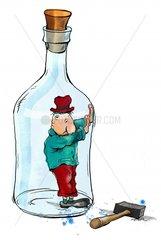 Mann in Flasche gefangen