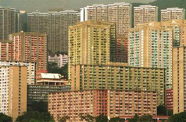 Ansicht auf die einfachen Wohngebiete in Hongkong