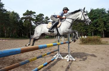 Menz  Deutschland  Reiter und Pferd springen ueber ein Hindernis