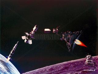 Artist's depiction of the main Apollo Moon landing manoeuvres  1969.