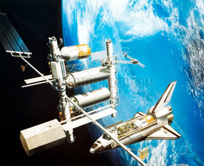 Artist's impression of Space Shuttle visiting a Space Station  1981.