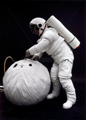 Testing a Space Shuttle spacesuit and rescue system  1976.