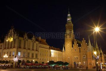 Breslau  Polen  Blick auf das Breslauer Rathaus am Markt