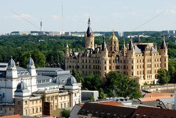 Schwerin  Blick vom Schweriner Dom ueber die Altstadt
