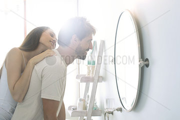 Couple sharing lighthearted moment together