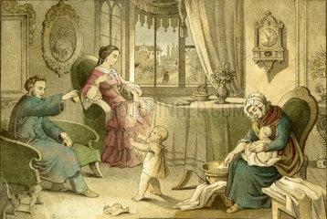 Vornehme Familie mit zwei Kleinkindern  1850
