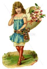 Maedchen mit Kiepe voller Blumen  Fruehlingssymbol  1890