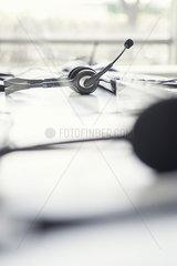 Phone headset on desk