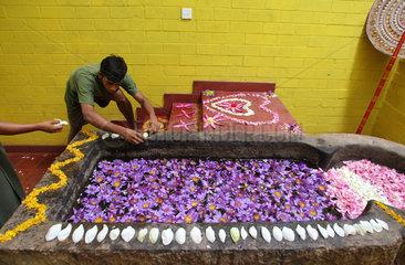 Wadduwa  Sri Lanka  ein Blumenbad wird mit Blueten dekoriert