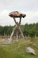 Neisseaue  Deutschland  der Parkplatz der Kulturinsel Einsiedel