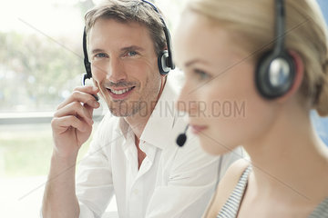 Professionals working in call center