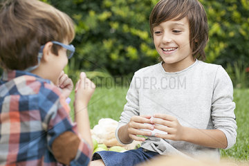 Boys playing hand game