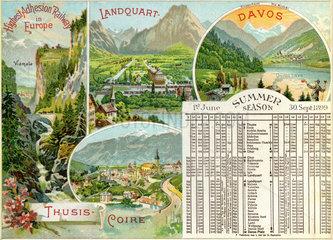 Sommerfahrplan  Schweizer Alpen  1899