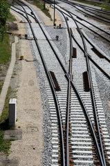 Gleissanierung - neu eingeschotterte Weichenstrasse bei Memmingen