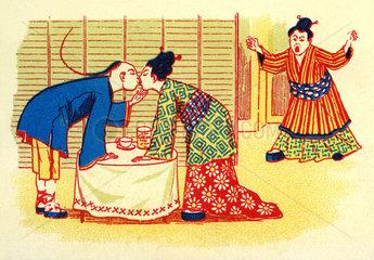 Mann kuesst andere Frau  fremdgehen  Japan  1898