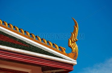 Dachdetail in der Tempelanlage Wat Saket in Bangkok