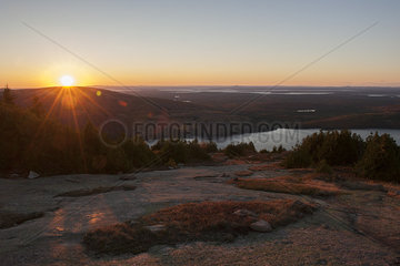 Tranquil sunset in Acadia National Park  Maine  USA