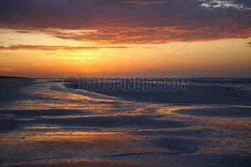 Eighty Mile Beach  Australien  Ebbe und Sonnenuntergang