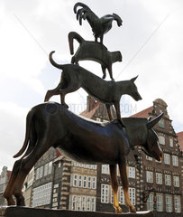 Bremen  Deutschland  die Skulptur der Bremer Stadtmusikanten