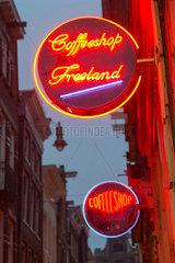 Amsterdam  Niederlande  Schild des Coffeeshop Freeland
