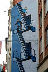 Wandmalerei Comic Tim und Struppi
