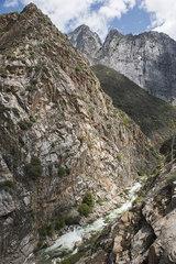 Mountain stream coursing through rocky landscape  Kings Canyon National Park  California  USA