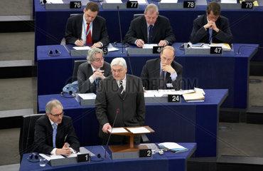 Strasbourg  der deutsche Aussenminister Steinmeier vor dem EU-Parlament