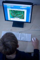 Berlin  Deutschland  ein Junge spielt am Computer