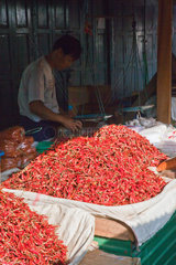 CHILES for sale in the CENTRAL MARKET in KENGTUNG also known as KYAINGTONG  MYANMAR