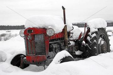Eingeschneiter alter Traktor  Massey Ferguson Oldtimer im Winter  Lappland  Finnland -