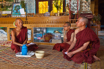 BUDDHIST MONKS at SHWE INN THEIN are located at INDEIN  INLE LAKE  MYANMAR