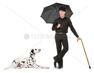 Mann mit Dalmatiner