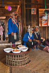 AKHA WOMEN attend a wedding in the town of KENGTUNG also know as KYAINGTONG  MYANMAR