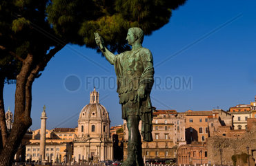 Historical Caesar bronze statue in Roman Forum in center of Rome Roma Italy Europe