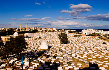 Aerial view from above of Bourguiba Mausoleum and cemetery in Sousse Monastir Tunisia Africa