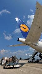 Lufthansa Airbus A340-600 D-AIHE: Leitwerk und Luftfracht