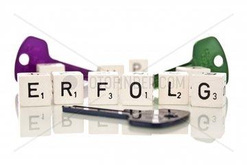 Verschieden farbige Schluessel mit Spielsteinen und dem Wort Erfolg