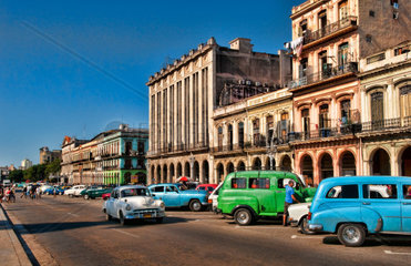 Old Classic American cars in main central street by Capitol in Havana Habana Cuba