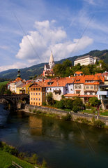 Old historical old town of Murau Austria downtown and churches and Mur River