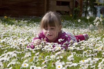 Maedchen auf einer Blumenwiese