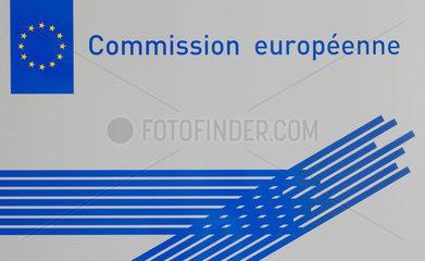 Luxemburg  Schild am Eingangsbereich der Europaeischen Kommission