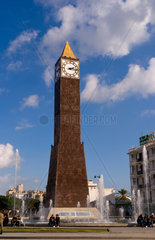Big Ben Momument in center of traffic circle in Tunis Tunisia in Africa
