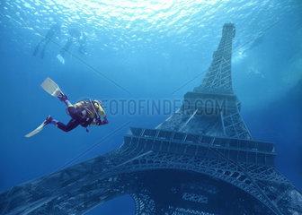 Zukunft  Erhoehung des Meeresspiegels  Eiffelturm  Paris