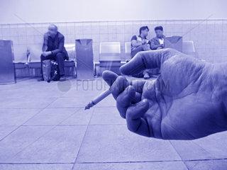 Raucherraum auf dem Flughafen in Doha