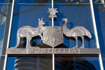 Sydney  Australien  Staatswappen von Australien mit Kaenguru und Emu