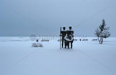 Skulpturen im Schnee