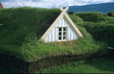 Haus mit grasbedecktem Dach